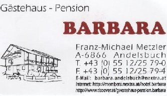 G�stehaus - Pension Barbara in Andelsbuch